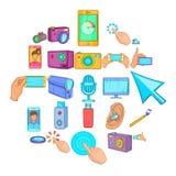 Ícones ajustados, estilo do telefone celular dos desenhos animados ilustração royalty free