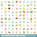 100 ícones ajustados, estilo do tempo da aventura dos desenhos animados Imagens de Stock