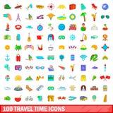 100 ícones ajustados, estilo do tempo de viagem dos desenhos animados Foto de Stock
