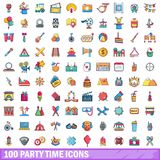 100 ícones ajustados, estilo do tempo do partido dos desenhos animados Fotos de Stock Royalty Free