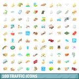 100 ícones ajustados, estilo do tráfego dos desenhos animados Imagem de Stock
