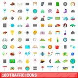 100 ícones ajustados, estilo do tráfego dos desenhos animados Imagem de Stock Royalty Free