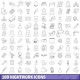 100 ícones ajustados, estilo do trabalho noturno do esboço ilustração royalty free