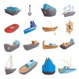 Ícones ajustados, estilo do transporte de mar dos desenhos animados ilustração royalty free