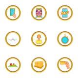 Ícones ajustados, estilo do transporte do mundo dos desenhos animados Imagem de Stock Royalty Free