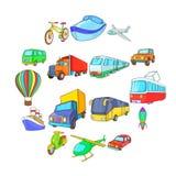 Ícones ajustados, estilo do transporte dos desenhos animados ilustração royalty free