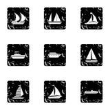 Ícones ajustados, estilo do transporte marítimo do grunge ilustração do vetor