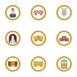 Ícones ajustados, estilo do trem dos desenhos animados Fotos de Stock