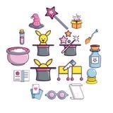 Ícones ajustados, estilo do truque mágico dos desenhos animados Fotografia de Stock