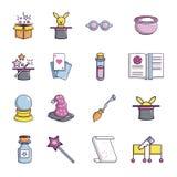 Ícones ajustados, estilo do truque mágico dos desenhos animados Fotografia de Stock Royalty Free
