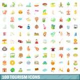 100 ícones ajustados, estilo do turismo dos desenhos animados ilustração stock