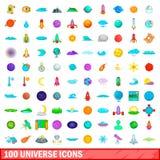 100 ícones ajustados, estilo do universo dos desenhos animados Foto de Stock