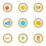 Ícones ajustados, estilo do vírus dos desenhos animados Imagens de Stock Royalty Free