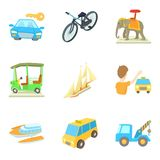 Ícones ajustados, estilo do veículo de transporte dos desenhos animados ilustração royalty free