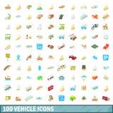 100 ícones ajustados, estilo do veículo dos desenhos animados Foto de Stock