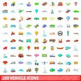 100 ícones ajustados, estilo do veículo dos desenhos animados ilustração do vetor
