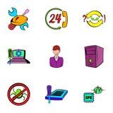 Ícones ajustados, estilo do Webmaster dos desenhos animados ilustração do vetor