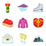 Ícones ajustados, estilo do Xmas dos desenhos animados Imagem de Stock Royalty Free