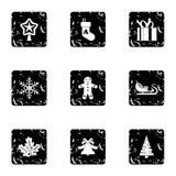 Ícones ajustados, estilo do Xmas do grunge ilustração stock