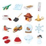 Ícones ajustados, estilo dos ícones do inverno dos desenhos animados Imagens de Stock Royalty Free