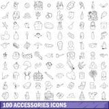 100 ícones ajustados, estilo dos acessórios do esboço Imagem de Stock Royalty Free