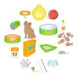 Ícones ajustados, estilo dos acessórios dos gatos dos desenhos animados Fotografia de Stock