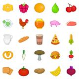 Ícones ajustados, estilo dos alimentos frescos dos desenhos animados ilustração stock