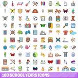 100 ícones ajustados, estilo dos anos escolares dos desenhos animados ilustração royalty free