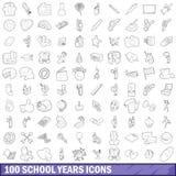 100 ícones ajustados, estilo dos anos escolares do esboço ilustração stock