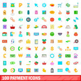 100 ícones ajustados, estilo dos desenhos animados Imagens de Stock