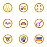 Ícones ajustados, estilo dos direitos de Lgbt dos desenhos animados Imagem de Stock
