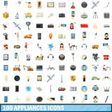 100 ícones ajustados, estilo dos dispositivos dos desenhos animados Imagens de Stock Royalty Free