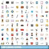 100 ícones ajustados, estilo dos empréstimos dos desenhos animados Fotos de Stock Royalty Free