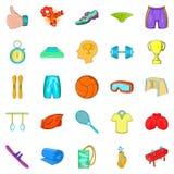 Ícones ajustados, estilo dos esportes da elite dos desenhos animados ilustração stock