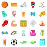 Ícones ajustados, estilo dos esportes da rua dos desenhos animados ilustração stock