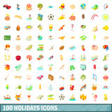 100 ícones ajustados, estilo dos feriados dos desenhos animados Imagens de Stock Royalty Free