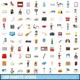 100 ícones ajustados, estilo dos hábitos dos desenhos animados Imagem de Stock