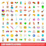 100 ícones ajustados, estilo dos hábitos dos desenhos animados ilustração do vetor