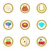 Ícones ajustados, estilo dos jogos do casino dos desenhos animados Foto de Stock