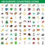 100 ícones ajustados, estilo dos países de Europa dos desenhos animados Fotos de Stock