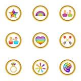 Ícones ajustados, estilo dos povos de Lgbt dos desenhos animados Fotografia de Stock Royalty Free