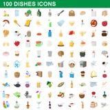 100 ícones ajustados, estilo dos pratos dos desenhos animados ilustração royalty free