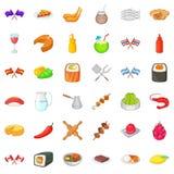 Ícones ajustados, estilo dos pratos do nacional dos desenhos animados Fotografia de Stock
