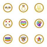 Ícones ajustados, estilo dos símbolos de Lgbt dos desenhos animados Fotos de Stock