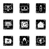 Ícones ajustados, estilo dos vírus do grunge ilustração do vetor