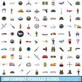 100 ícones ajustados, estilo dos veículos de combate dos desenhos animados Imagem de Stock
