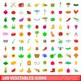 100 ícones ajustados, estilo dos vegetais dos desenhos animados ilustração do vetor