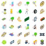 Ícones ajustados, estilo isométrico da competição ilustração stock