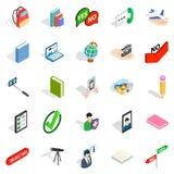 Ícones ajustados, estilo isométrico da conversação ocasional ilustração stock