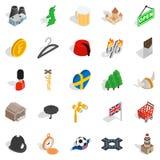 Ícones ajustados, estilo isométrico da Suécia ilustração royalty free